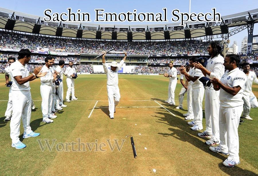 Sachin's last speech on cricket ground in Wankhede stadium ...