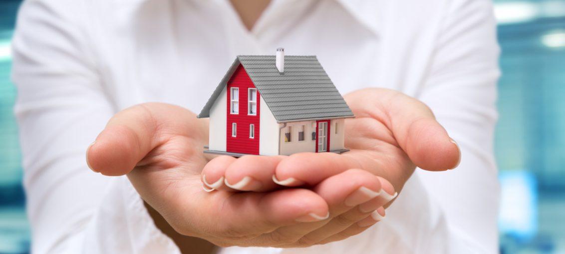 realtor deliver house - real estate concept