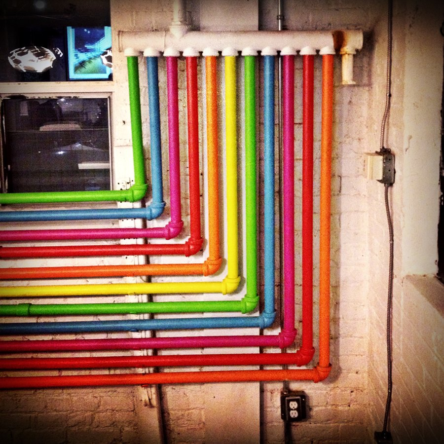 colored exposed pipes